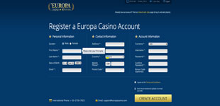 EuropaCasino signup page