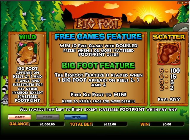 bigfoot slot machine