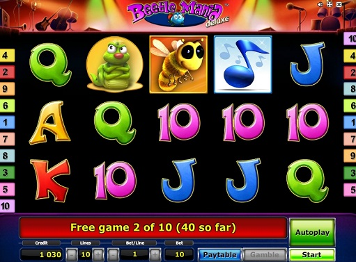 Enjoy Beetle Mania deluxe slot game
